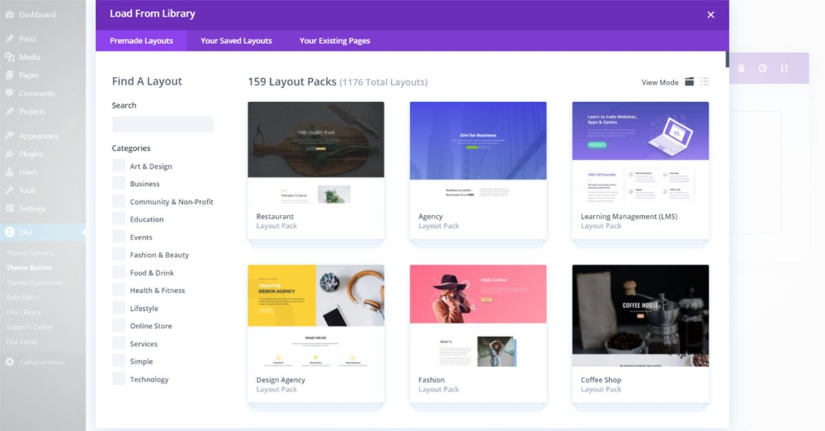 Divi Layout Library - Elegant Themes Review